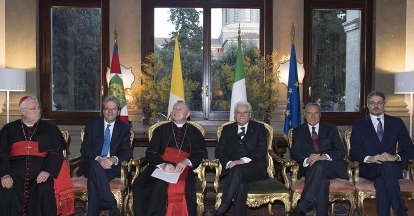 Un momento della celebrazione dell'anniversario dei patti Lateranensi all'Ambasciata d'Italia presso la Santa Sede (Ansa)